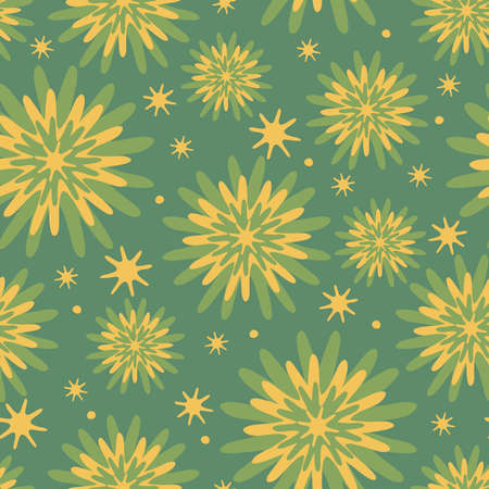 Seamless vector pattern with pastel yellow flower blooms on green background. Tie dye floral decorative wallpaper design. Artistic fashion textile texture.
