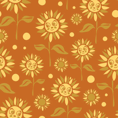 Seamless vector pattern with sunflowers on brown background. Simple cartoon floral wallpaper design for children. Happy flower meadow fashion textile.