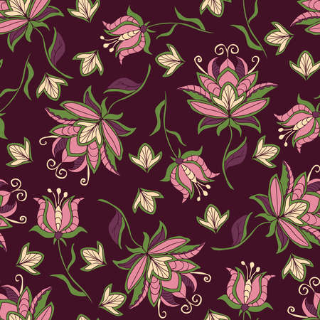 Seamless vector pattern with pink flowers on purple background. Beautiful embroidery floral wallpaper design. Romantic decorative fashion textile. Vecteurs