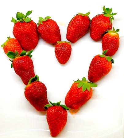 Heart of strawberries Stockfoto