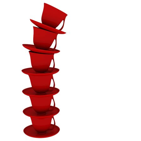 Red stack of falling cups, computer generated 3d Stock Photo