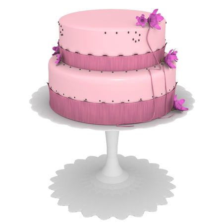 Pink cake with flowers and ribbons, computer generated 3d Stock Photo