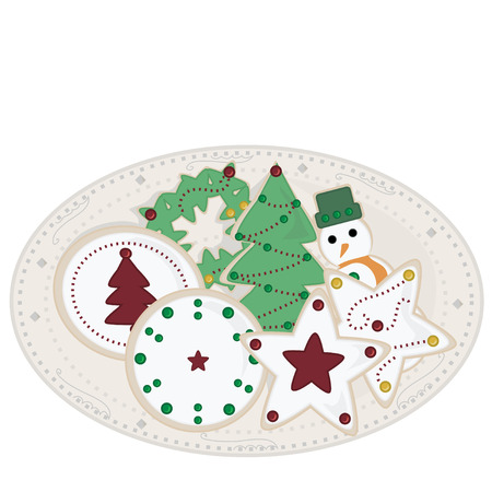 Holiday Sugar Cookies on Plate Vector