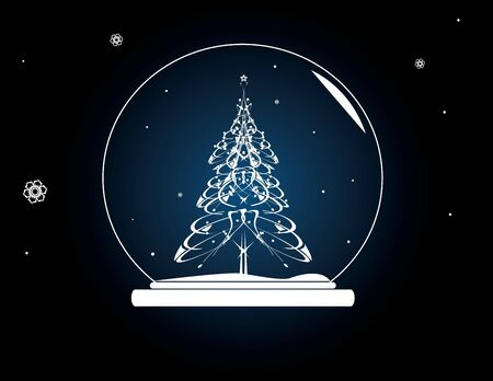 Christmas tree snowglobe on a blue background