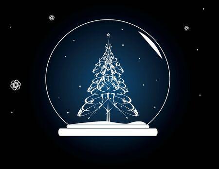 Christmas tree snowglobe on a blue background photo