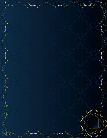 Blue gold frame on blue pattern background