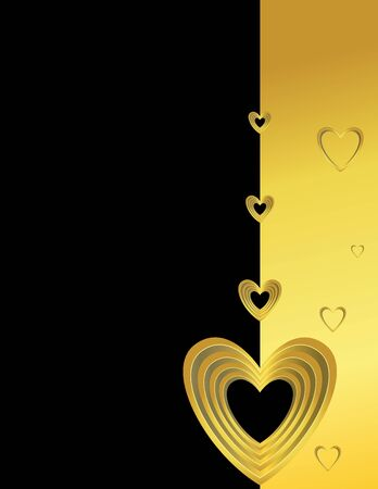 Gold black heart page with copyspace