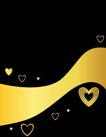 Gold black heart page with curved banner area