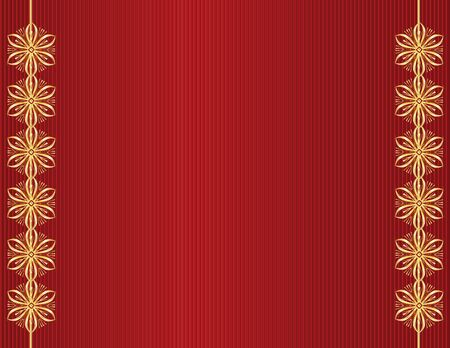 Red line background with gold designs along left and right sides