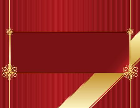 Red banner with gold accents on a red background Stock Photo