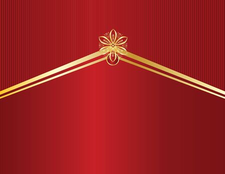 Red background with pointed gold element and space for copy 스톡 콘텐츠 - 3458822