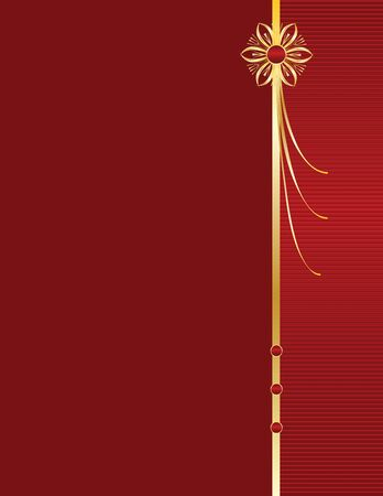 Red background with gold accent and space for copy