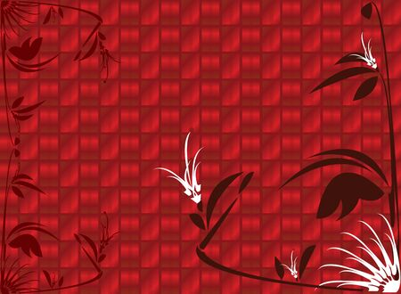 Red shiny floral background with gradient background Imagens - 3458829