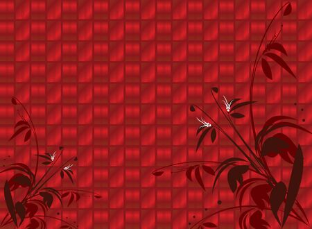 Red shiny floral background with open area in top left