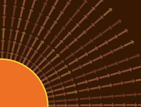 Sun arrow background in brown and orange