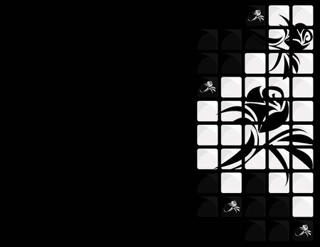 monotone: Black white tile floral  on a black background Stock Photo