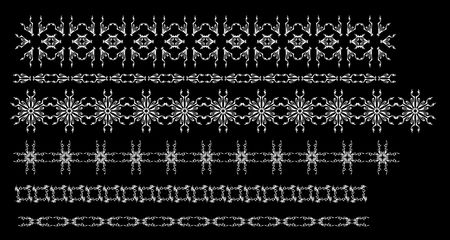 Design element pattern set isolated on black
