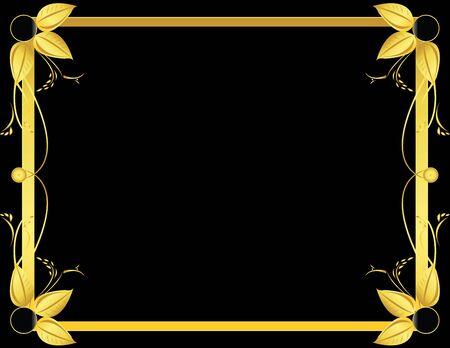 Gold and black leaf frame on a black background  Stock Photo
