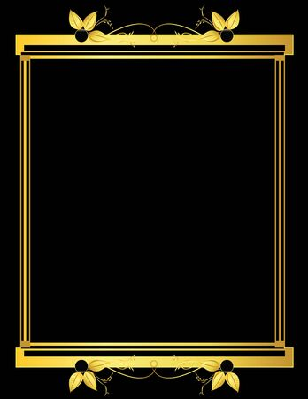 Gold rectangular frame on a black background