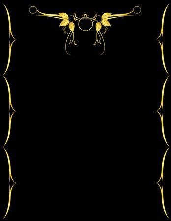 Gold design on a black vertical page
