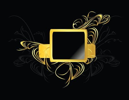 Gold and black square element on a black background Stock Photo