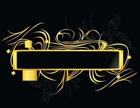 Gold and black banner element on a black background