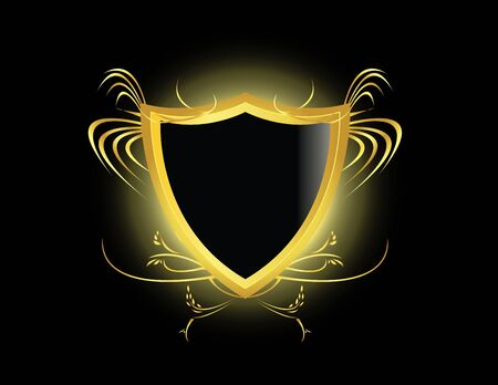 shiny black: Gold and black shield with a glow on a black background