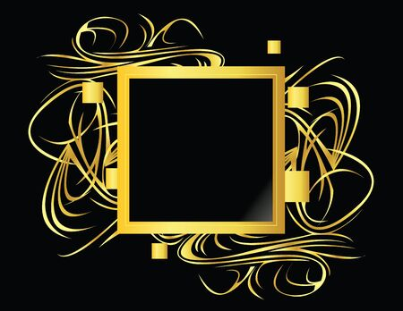 square shape: Gold and black square element on a black background Stock Photo