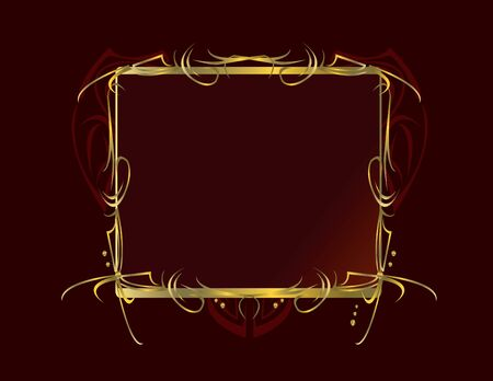 Red and gold frame design on a red background