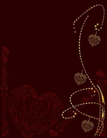 赤い背景ページ上の金の中心の設計