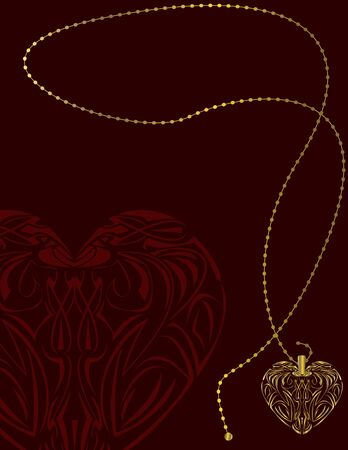 Gold heart locket on a red page background