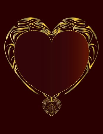 Gold heart frame on a red background page Stock Photo