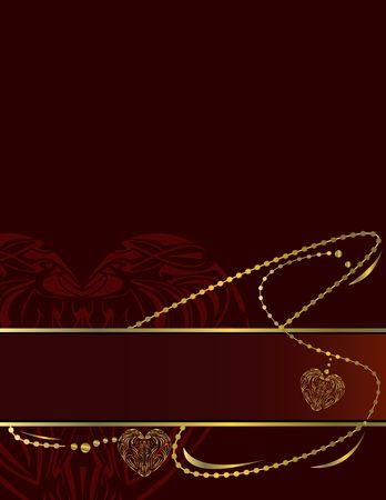 赤い背景ページ上の金と赤のバナー