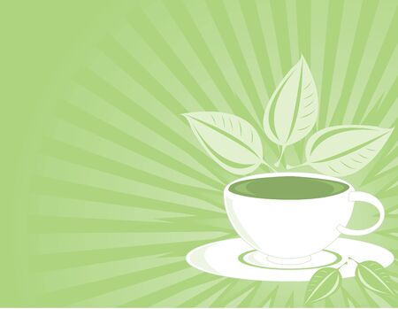 Green tea and cup on a green fading ray background Stock Photo