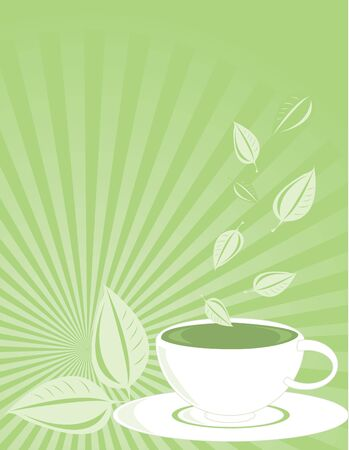Green tea and cup on a fading ray background