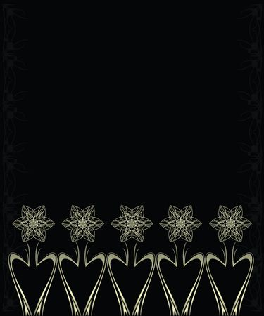 Silver flowers on a black and silver background 스톡 콘텐츠