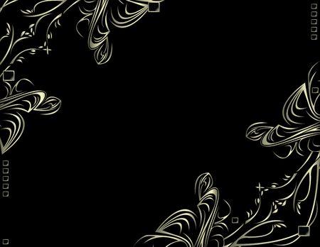 검정색 배경에 실버 모서리 디자인 스톡 콘텐츠 - 3464222