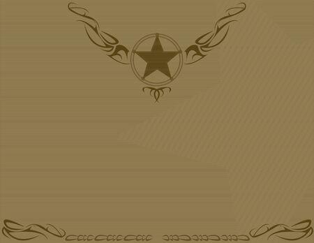 갈색 배경에 갈색 구식 스타 디자인