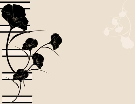 Black pink poppy design on left side of background