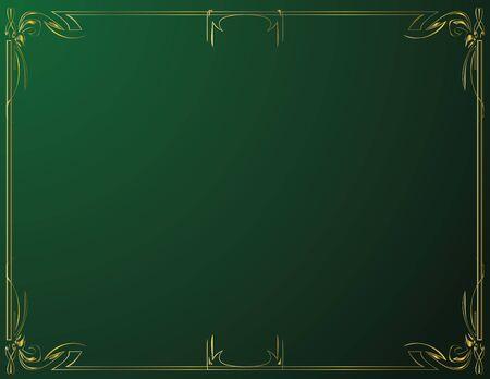 Gold elegant frame on a green background