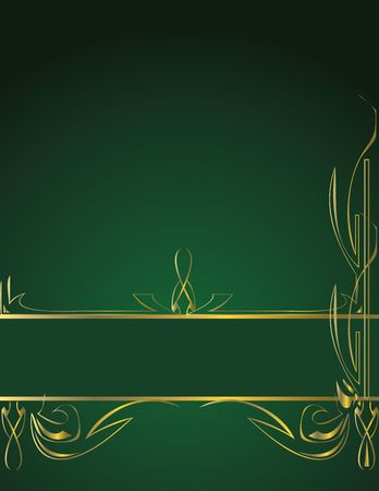 Gold elegant banner design on green page with additional copy space Stock Photo