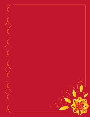 Red orange abstract flower frame on a red background Stock Photo