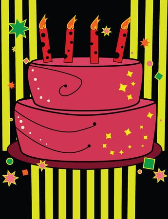 Birthday cake design on pink and yellow