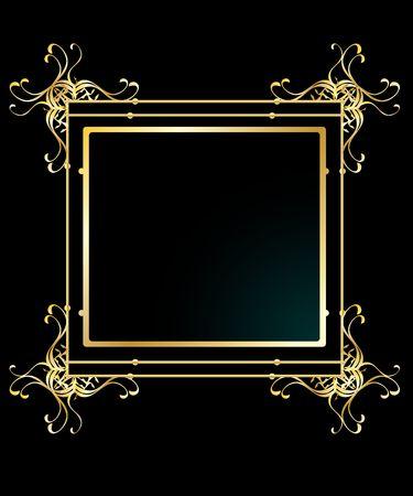 Elegant gold frame background isolated on a black background Reklamní fotografie