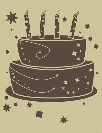 birthday cake graphic in brown and tan