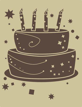 Pastel de cumpleaños gráficos en color marrón y bronceado  Foto de archivo - 3475487