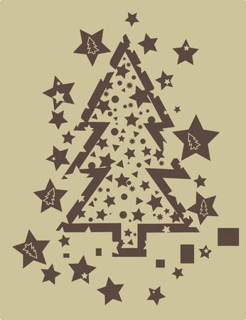 Christmas tree in grunge style in brown and tan