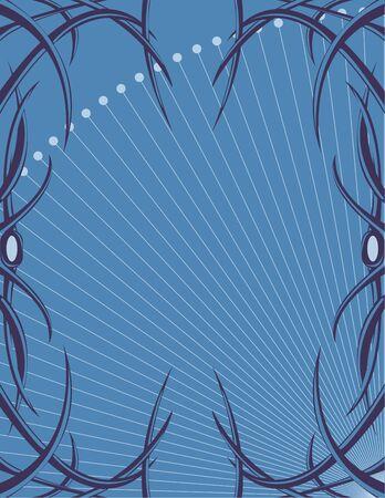 Blue tendril frame on a blue background