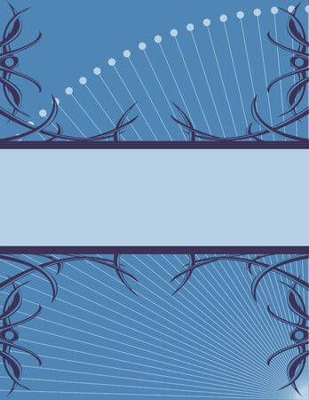 Blue banner with abstract tendrils on a blue background Imagens