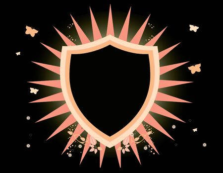 Pink and black shield with glow on a black background Stok Fotoğraf